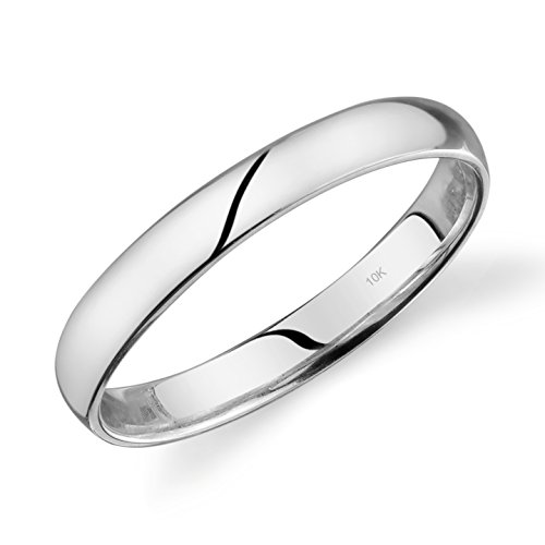 10k White Gold Light Comfort Fit 3mm Wedding Band Size 7.5 ()
