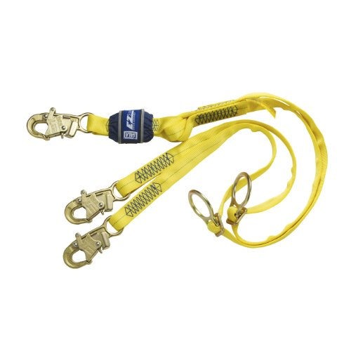 3M DBI-SALA EZ-Stop 1246070 Shock Absorbing Lanyard, 6' Web, 100 Percent, Adjustable D-Rings for Tie-Back, Snap Hooks At Ends, Yellow/Navy