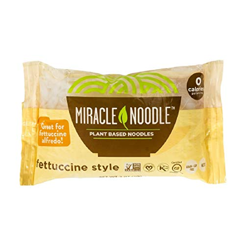 Miracle Noodle Shirataki Konjac Fettuccine Pasta, 7 oz (Pack of 6), Zero Carbs, Zero Calorie, Gluten Free, Soy Free, Keto Friendly (Packaging May Vary)