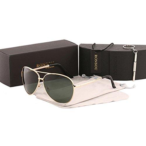 Ronsou Men Women Aviator Polarized Sunglasses UV400 Mirror eyewear For Driving Fishing Outdoor gold frame/green - Big Heads Aviator Sunglasses For