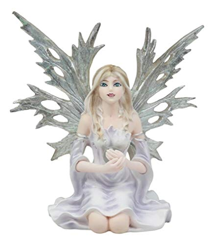 Ky & Co YesKela Kneeling Winter Fairy Holding Crystal Ball Statue 4.5