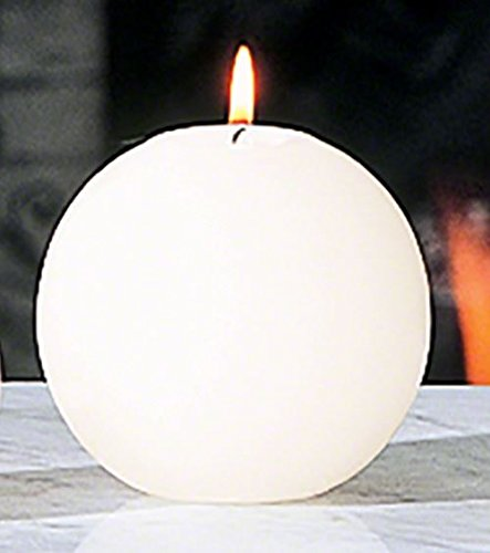 4'' Ball Candle Unscented White Paraffin | CASE PACK 10 Large Sphere Round Pillar by My Swanky Home