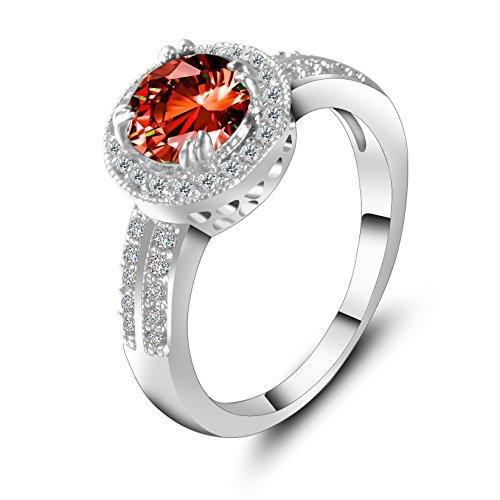 7c8687e22b29 Anillo Mujer Zircon Titanio Crystal Clásico Adornos Chapado en oro Piedra  Mampostería Rojo Topacio Lovely