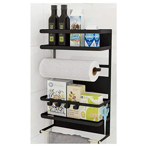 Kitchen Rack - Magnetic Fridge Organizer - 18.1x11.8x4.4 INCH - Paper Towel Holder, Rustproof Spice Jars Rack, Plastic Wrap holder, Refrigerator Shelf Storage Including 5 Removable Hook- 201 (Black) ()