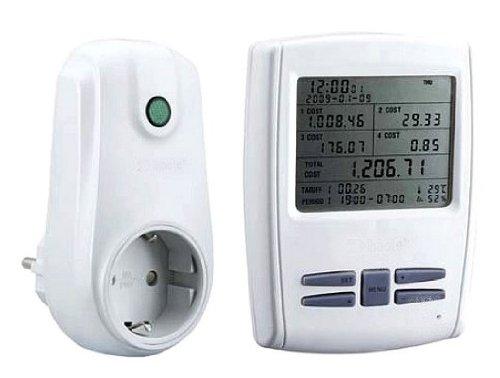 Funk Doppel Energiekosten-Messgerät Digital-Leistungsmesser Stromzähler mit Kindersicherung 433MHz