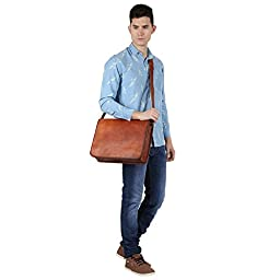 Rustic Town Canvas Vintage Crossbody Messenger Courier Bag Gift Men Women Business Work Briefcase Carry Laptop Computer Books Handmade Rugged & Distressed ~ Everyday Office College School 15 Inch