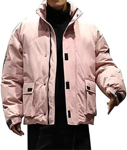 192a4804598 OTW Men Stand Collar Thickened Plus Size Thermal Big Pockets Quilted Jacket  Parka Coat Outerwear