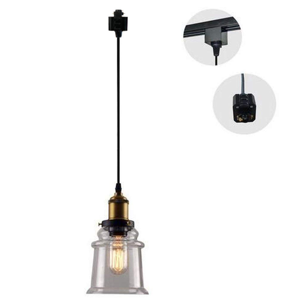 H-Type 3 Wire Miniature Pendant Track Lighting Fixture Restaurant Chandelier Decorative Chandelier Instant Pendant Industrial Factory Glass Pendant Lamp,Bulb Not Include Length of Wire 1m