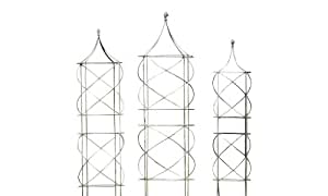 Gift Craft 46-Inch Iron Tower Design Trellises, Large, Natural/Rustic Brown, Set of 3