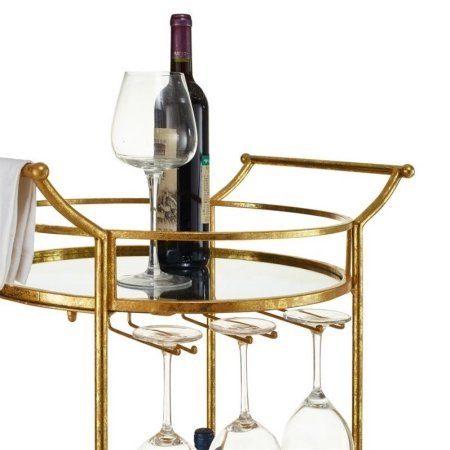 Linon Round Gold Metal Bar Serving Cart