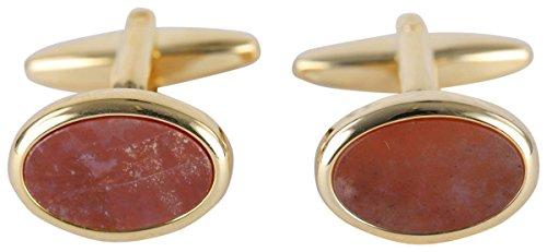 (David Van Hagen Mens Gold Plated Bloodstone Oval Cufflinks - Green/Gold)