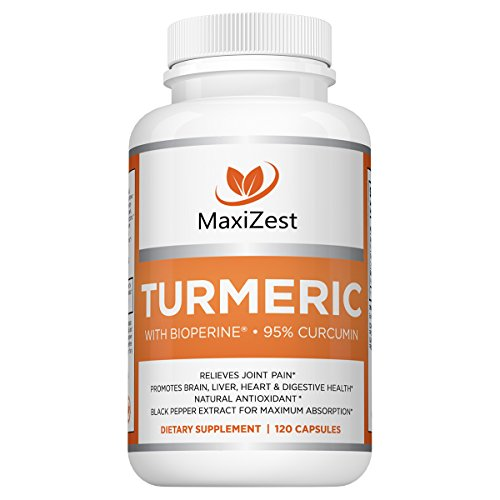 MaxiZest Organic Turmeric Curcumin with BioPerine®. Powerful antioxidant and anti-inflammatory joint supplement for effective pain relief and ongoing joint & body support. 120 Veggie Capsules. Review
