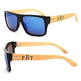 Blue Square Frame Personalized Engraved Sunglasses