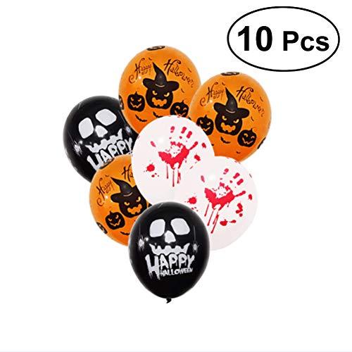 HEALIFTY 10pcs Halloween Balloons 12inch Bloody Handprint Spooky Pumpkin Latex Decorative Balloons