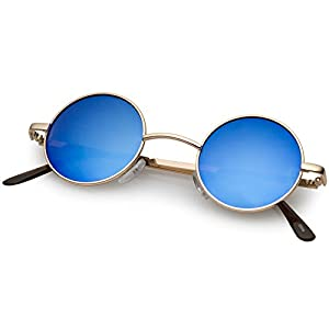 zeroUV - Lennon Style Small Round Color Mirrored Lens Circle Sunglasses (Gold Ice)