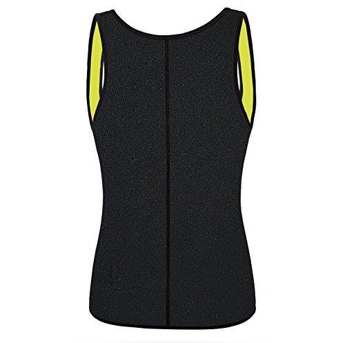 QEESMEI Women\'s Sauna Hot Sweat Suits Waist Trainer Vests Weight Loss Shapewear Slim Belt No Zipper (Black, Medium)