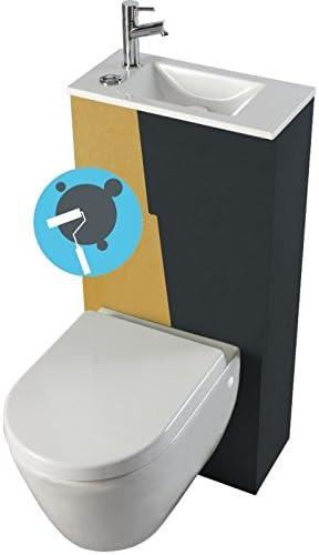 Conjunto de inodoro suspendido con lavabo integrado (asiento con bisagra de caída amortiguada): Amazon.es: Hogar