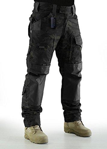 ZAPT Tactical Molle Ripstop Combat Trousers Army Multicam/A-TACS LE Camo Pants for Men (Multicam Black, L) ()