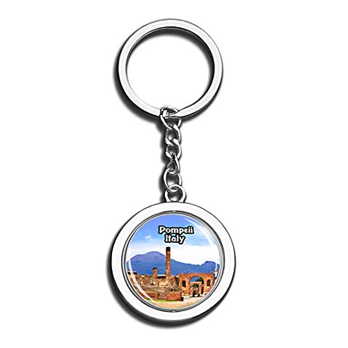(Pompeii Italy 3D Crystal Creative Keychain Spinning Round Stainless Steel Key Chain Ring Travel City Souvenir)