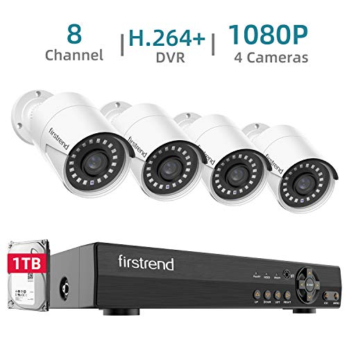 Security Camera System,Firstrend 8 Channel 1080P HD Home DVR Surveillance System with 4PCS Video Cameras and 1TB Hard Drive Outdoor Indoor Night Vision Motion Detection