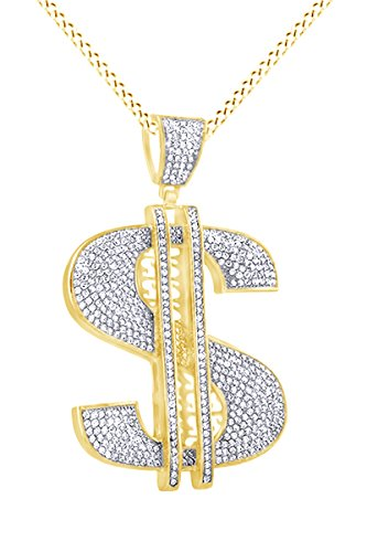 AFFY Simulated Cubic Zirconia $ Dollar Sign Hip Hop Pendant in 14k Yellow Gold Over Sterling Silver by AFFY