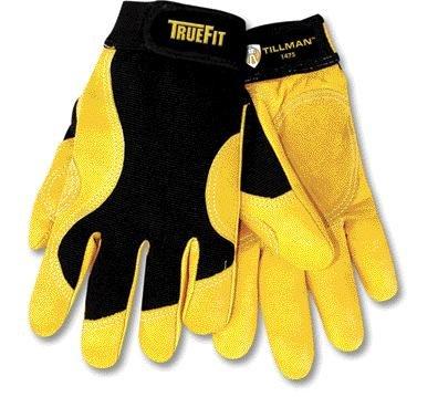 Tillman 2 XブラックandゴールドTruefit Full Finger Top Grain CowhideプレミアムMechanics Gloves With Elastic Cuff、ダブルレザーPalm、強化親指と滑らかな表面指 B00CHV6Y4Q
