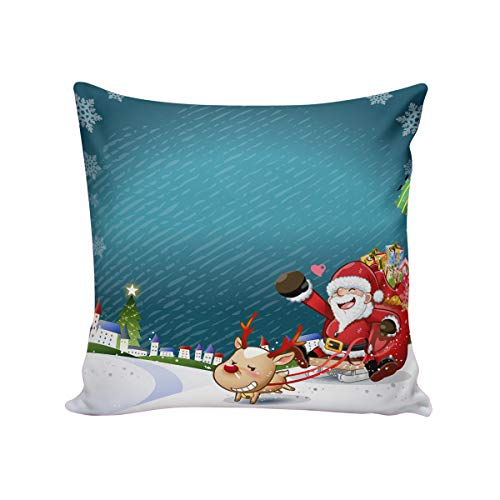 T&H Home Comfortable Throw Pillow Cover for Bedding, Decorative Accent Cushion Sham Case for Couch Sofa, Soft Solid Satin with Zipper Hidden - 26x26 in, Joyfull Chirstmas Santa Claus and Reindeer (Chicago Bears Santa Pillow)