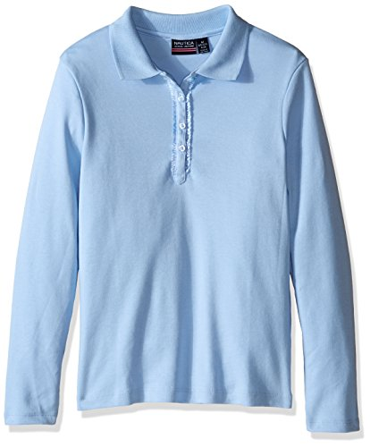 Nautica Little Girls' Uniform Long Sleeve Polo with Ruffle Placket, Light Blue, Large 6