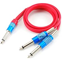 CablesOnline 2ft Premium 1/4in(6.35mm) Mono Male to Dual 1/4in(6.35mm) Mono Male(s) Red Y-Splitter Cable (AV-YM02R)
