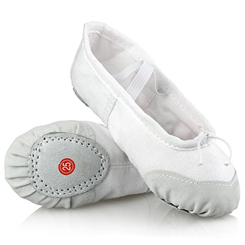 LONSOEN Ballet Slipper Shoes Split-Sole Dance Flat for Girls (Toddler/Little Kid/Big Kid) SHC551 White CN36