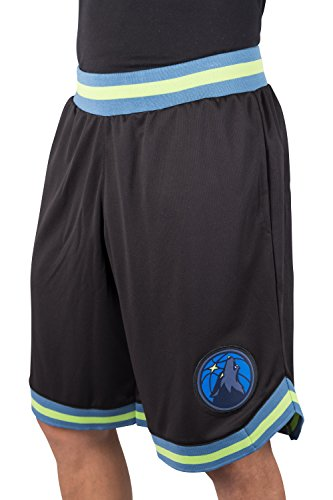 fan products of NBA Men's Minnesota Timberwolves Mesh Basketball Shorts Woven Active Basic, X-Large, Black