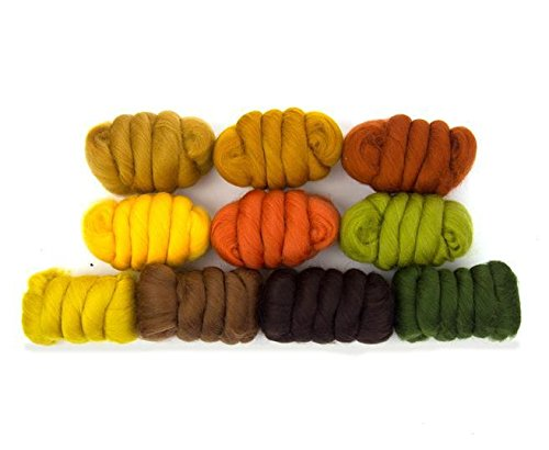 Paradise Fibers Mixed Merino Wool Bag - Autumn Leaves - Merino Wool Fiber Lot Perfect for Needle Felting, Wet Felting, Hand Spinning, and Blending ()