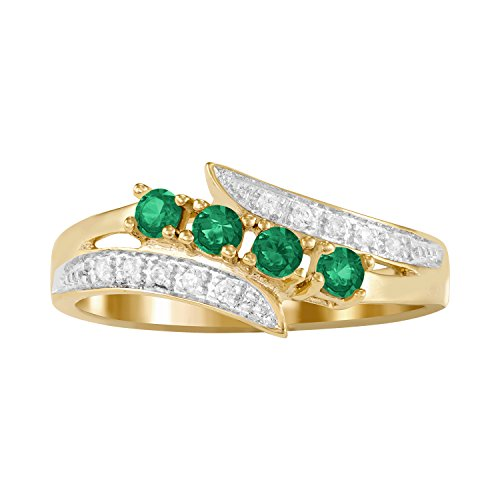 ArtCarved Starlight Simulated Emerald Birthstone Women's Ring, 10k Yellow Gold, Size 7 (10ky Gold Ring)