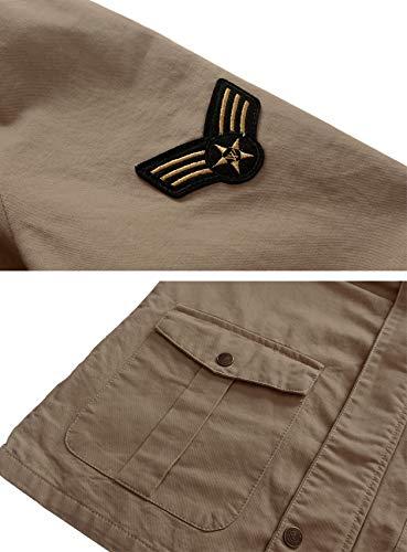 Cotone Con Nuovo Giacca Cachi Uomo Militare Di Wenven Cappuccio q7znSw1R