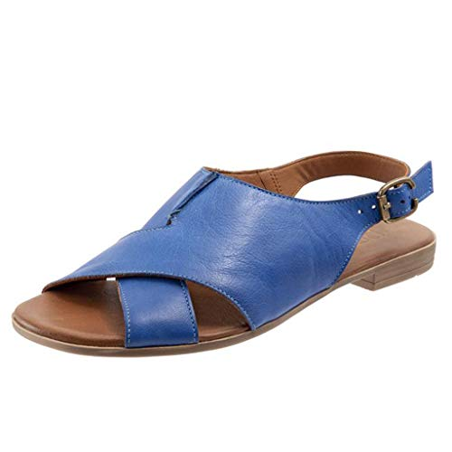 Thenxin Summer Women's Flat Sandal Retro Buckle-Strap Casual Peeptoe Roman Shoes (Blue,8 US)