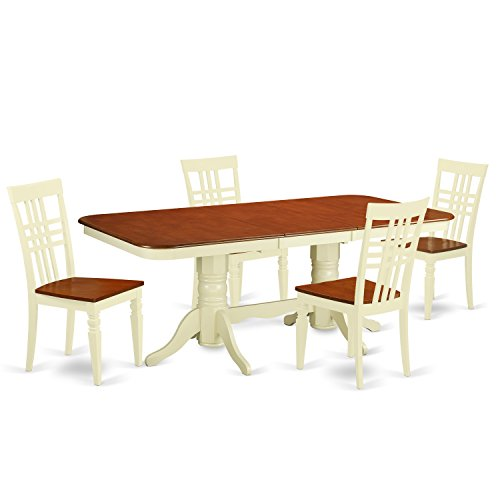 East West Furniture NALG5-BMK-W 5 Piece Kitchen Table Set with One Napoleon Dining Table and Four Dining Chairs in Buttermilk & Cherry Finish