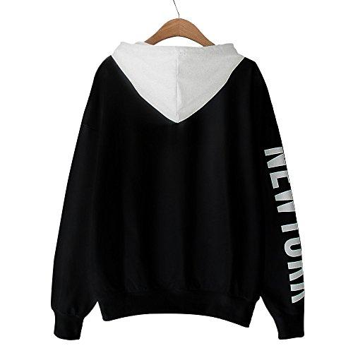 TANALNG Womens Long Sleeve New York Letters Print Hoodie Sweatshirt Pullover Tops Lightweight Henry Jacket Autumn Tunic Black ()