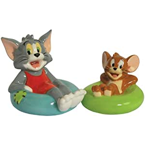 Westland Giftware Tom and Jerry Inner Tube Fun 2-1/2-Inch Magnetic Salt and Pepper Shakers