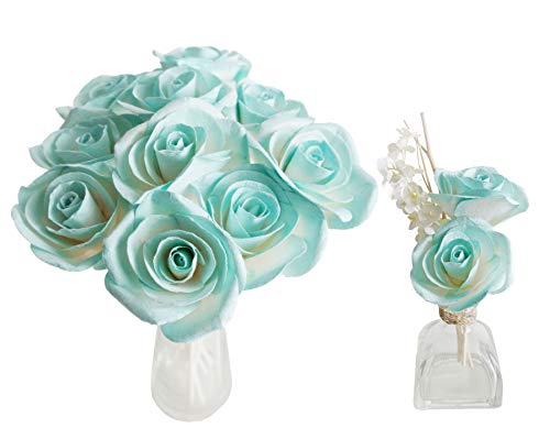 Plawanature Turquoise Blue Rose Mulberry Paper Flower with Reed Diffuser Stick for Home Fragrance Accessories. (Set of 10 Roses) ()