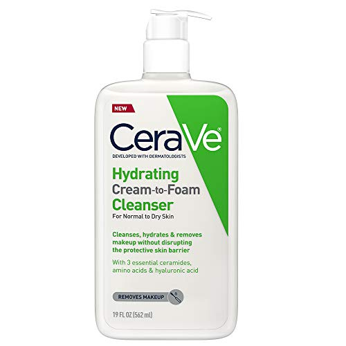 Amazon.com: CeraVe Hydrating Cream-to-Foam Cleanser | Makeup Remover and Face Wash With Hyaluronic Acid | Fragrance Free | 19 Ounce: Beauty