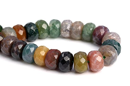 (jennysun2010 4x6mm Natural Indian Agate Gemstones Faceted Rondelle Spacer Loose Beads 1 Strand 15 inches for Necklace Earrings Jewelry Making Crafts)