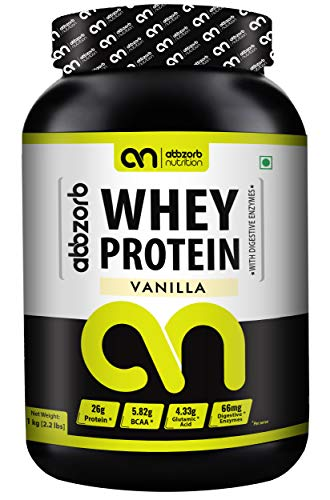 Abbzorb Nutrition Whey Protein 26g Protein   5.8g BCAA -with Digestive Enzymes (Vanilla, 1 Kg)