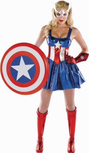 Marvel Disguise Women's Captain America American Dream Sassy Deluxe Costume, Red/White/Blue, Large