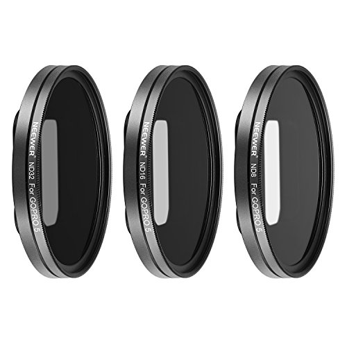 Neewer Multi-coated Lens Filter Kit for GoPro Hero 5,hero 6 Includes ND8, ND16, ND32 Filters with 3 Lens Caps; Made of Aluminum Alloy Frame and HD Optical Glass by Neewer