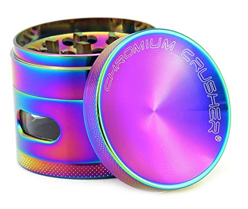 Chromium Crusher 2.5 Inch 4 Piece Tobacco Spice Herb Grinder - Pick Your Color (Rainbow with Window)