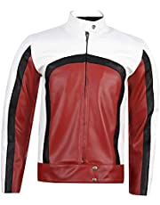 KAAZEE Freddie Mercury Jacket - Bohemian Rhapsody Rami Malek Red and White Concert Biker Leather Jacket