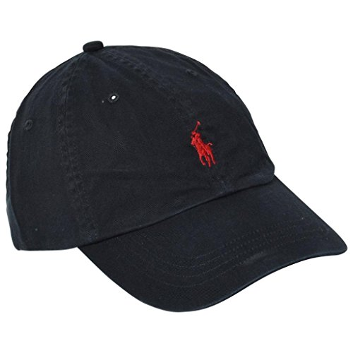 Ralph Lauren Mens Pony Logo Hat Cap Black/Red