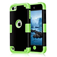 iPod Touch 6 Case, MCUK 3 In 1 Hybrid Cover Silicone Rubber Skin Hard Combo Bumper Scratch-Resistant Case Fit For Apple iPod Touch 5 6th Generation (Black+Green)