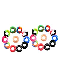 Prettyia 11 Pairs Assorted Color Soft Silicone Flexible Ear Plugs Tunnels 6mm-16mm Gauge Expander for Men Women Piercing Jewelry