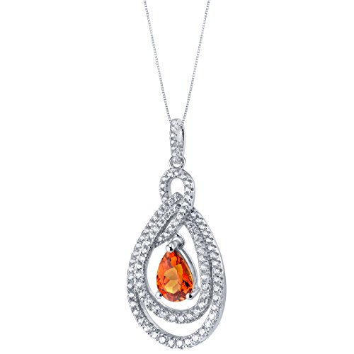 Tear Drop Created Padparadscha Sapphire Sterling Silver Glamour Pendant Necklace ()